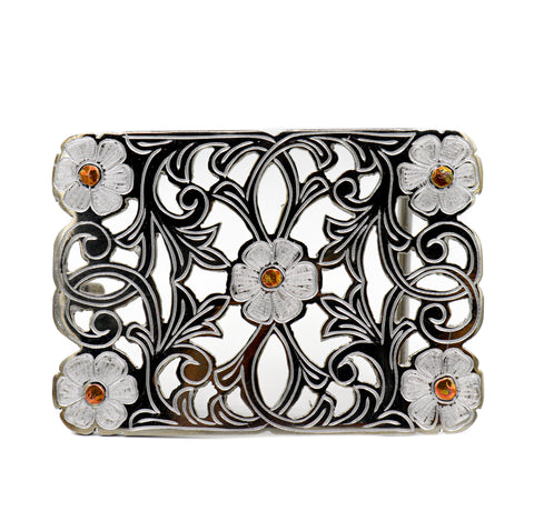 Hebilla Amarilla Copper Flor Buckle Flower Design