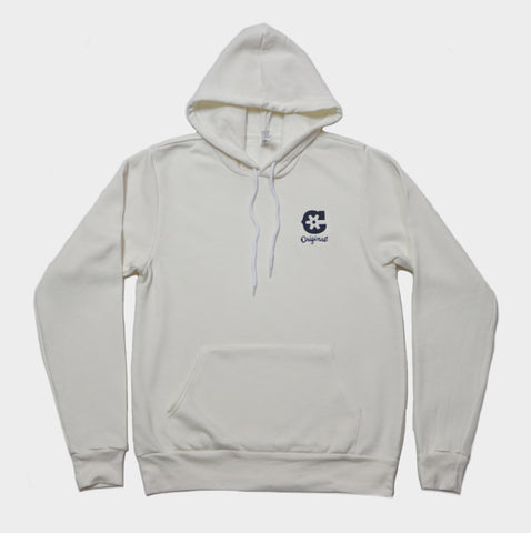 """C"" Vintage White Hoodie (Embroidered) (4406158524479)"