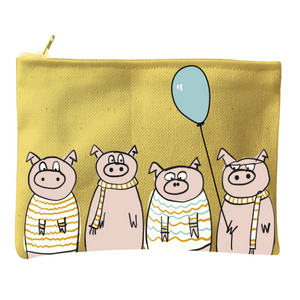 Bag Zip Little Pigs Yellow