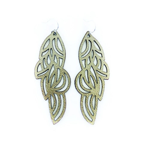 Earrings Curve Mini Leather Oyster Silver