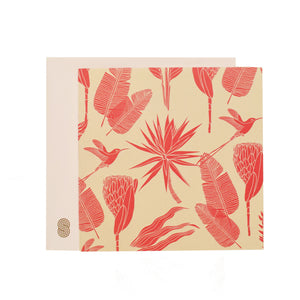 Square Notecard Botanicals (Pink on Sand)