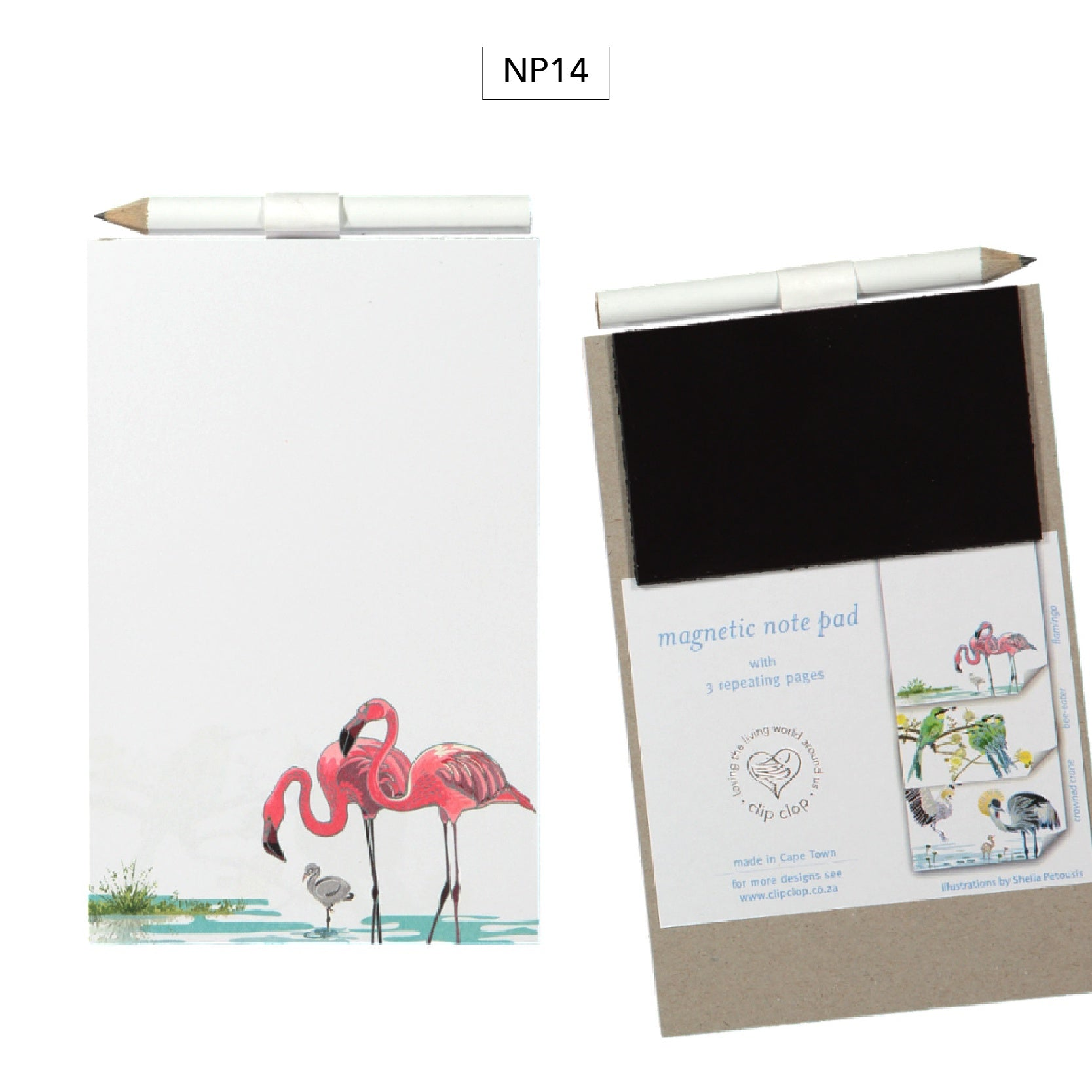 Notepad Magnetic with Pencil Flamingo