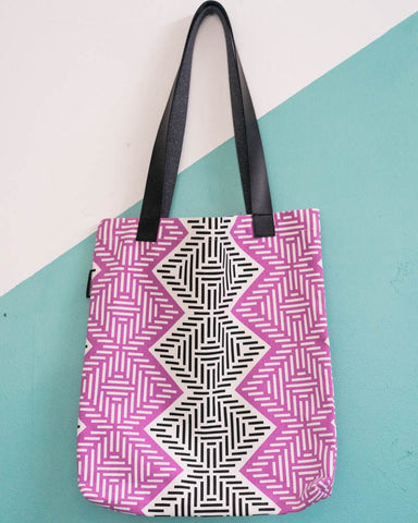 Tote Bag Diamond African Weave Fuschia