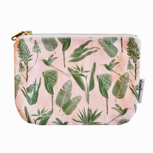 Pouch Botanicals (Green on Pink)