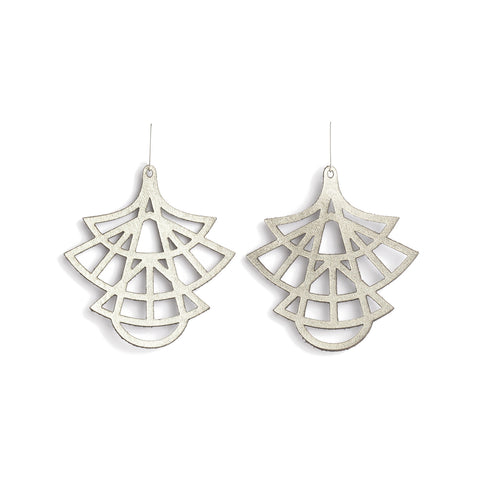 Earrings Stilo Leather Oyster Silver