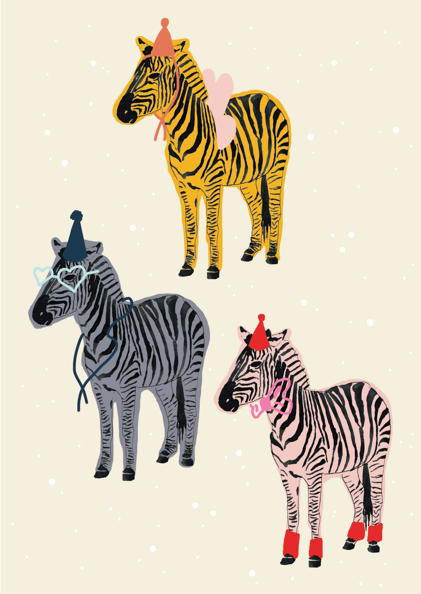 Card A5 Rainbow Zebras