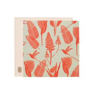 Square Notecard Botanicals (Orange on Aqua)