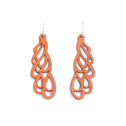 Earrings Curl Leather Coral