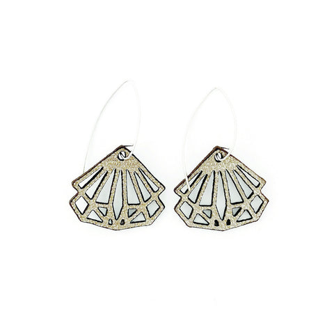 Earrings Coco Leather Oyster Silver