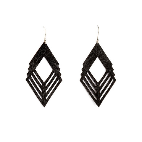 Earrings Diamond Leather Black