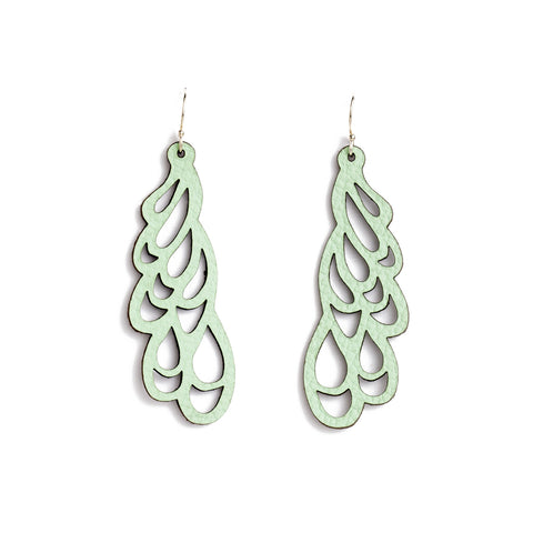 Earrings Curl Leather Mint
