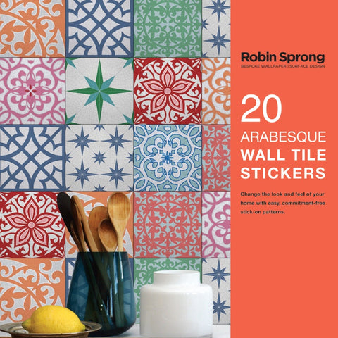 Wall Tile Stickers Arabesque Multi 15x15cm
