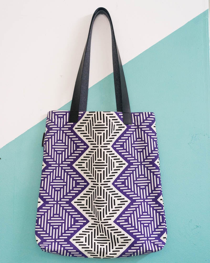 Tote Bag Diamond African Weave Purple