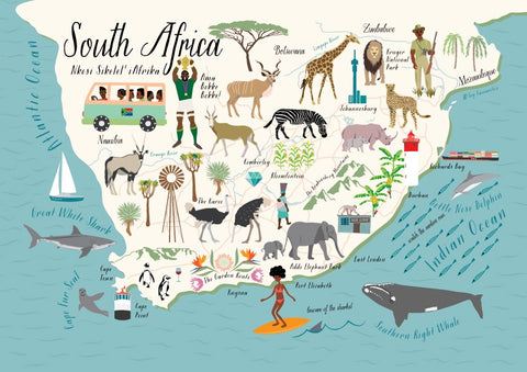 Postcard Map Of South Africa