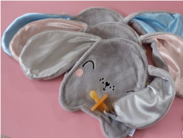 Bunny Security Blankie With Velcro Pacifier Attachment Grey & Pink