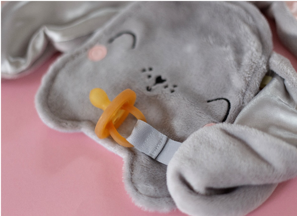 Bunny Security Blankie With Velcro Pacifier Attachment Grey & Grey