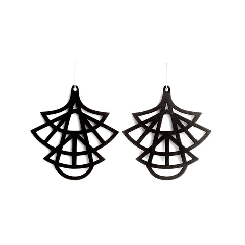 Earrings Stilo Leather Black