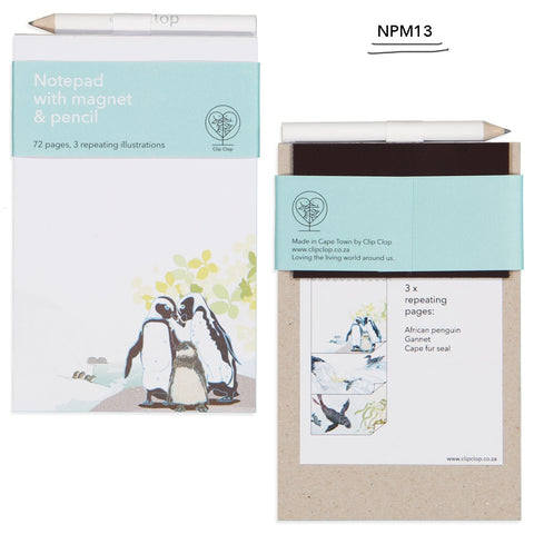 Notepad Magnetic with Pencil Penguin