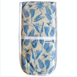 Oven Gloves Joined Botanicals Blue on Sand