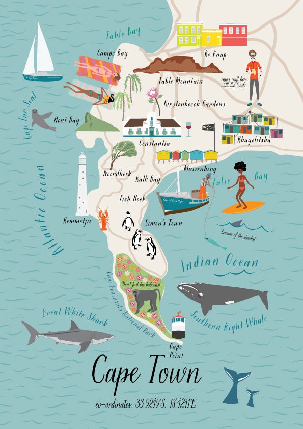 Postcard Map Of Cape Town