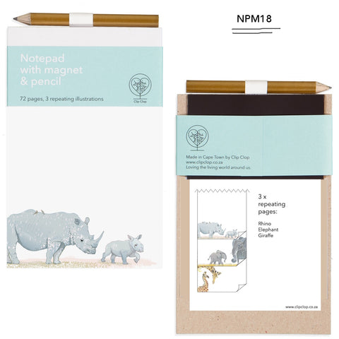 Notepad Magnetic with Pencil Rhino