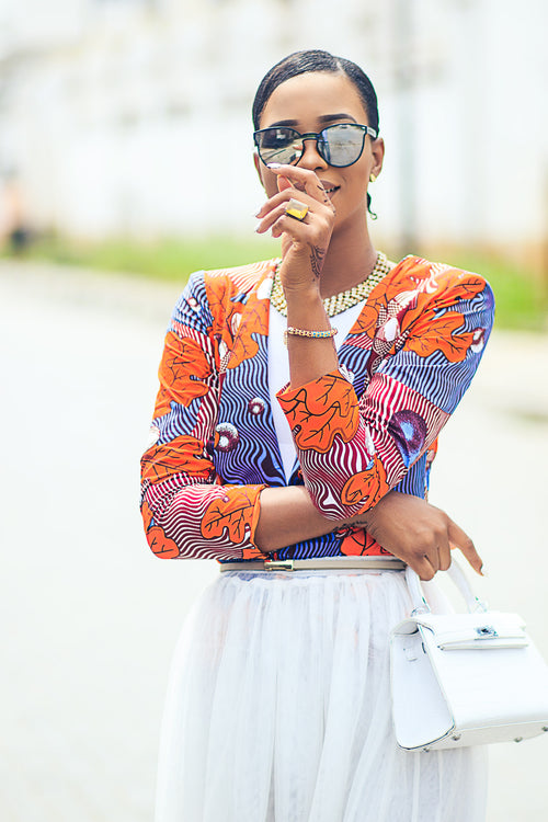 Rehema African Printed Orange Ruffled Sleeve Jacket