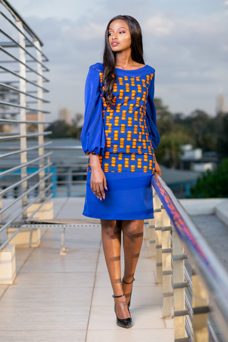 Aliya Bow Tie African Print Dress