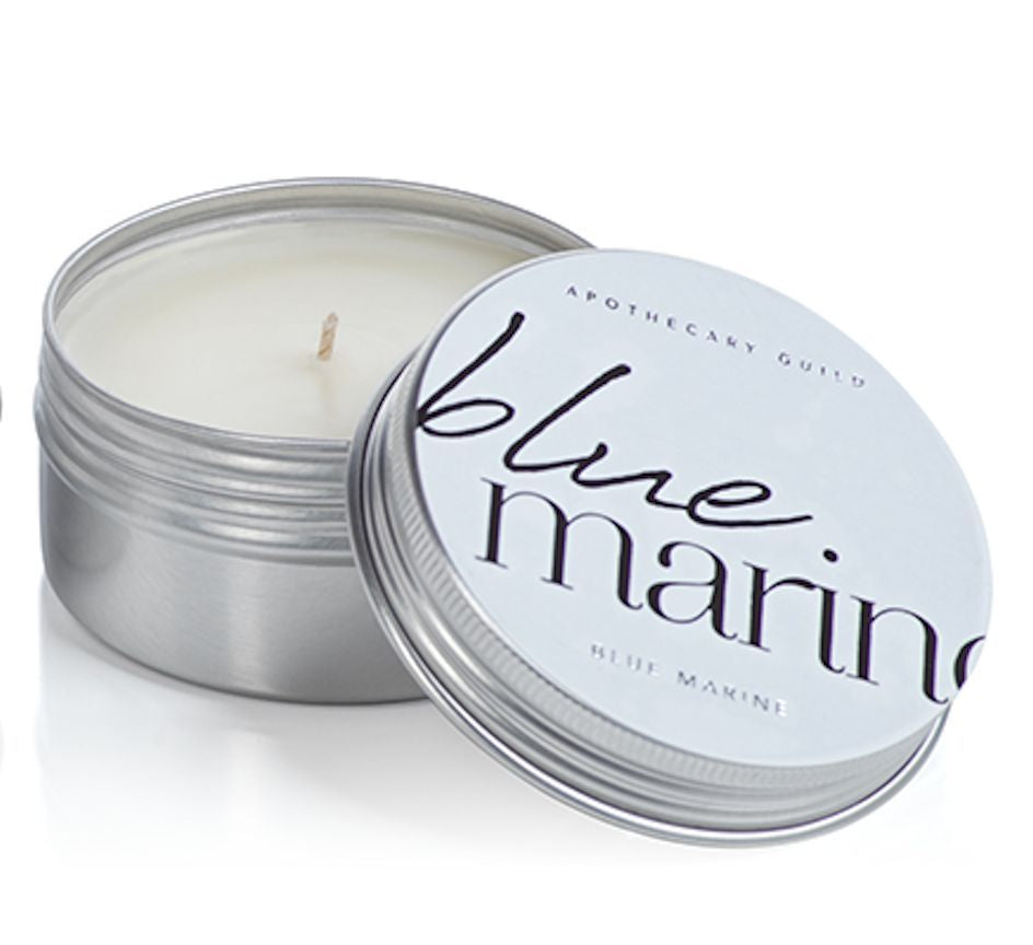 Blue Marine Tin Candle