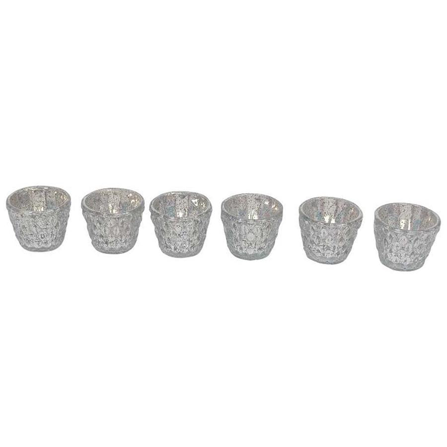 Textured Silver Glass Votives