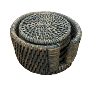 Rattan Coaster Set in Holder - Set/6