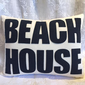 Beach House Pillow- Navy on Linen, Natural Materials