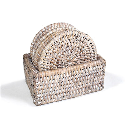 Rattan Round Coaster Box - Set/6