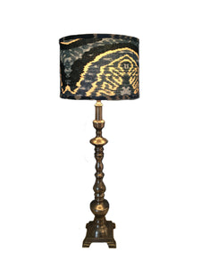 Venetian Console Lamp with Blue Ikat Shade