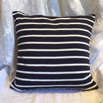 "Beach Stripes Pillow in Navy & Ivory 20""x20"""