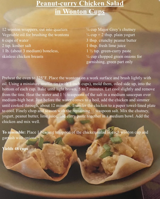 Peanut-Curry Chicken Salad in Wonton Cups Recipe Card