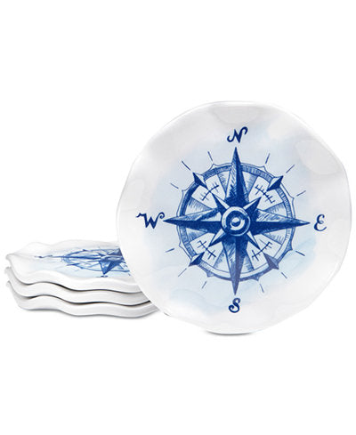 Nautical Compass Melamine Coasters - Set/4