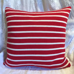 "Beach Stripes Pillow Cover in Red  20""x20"""
