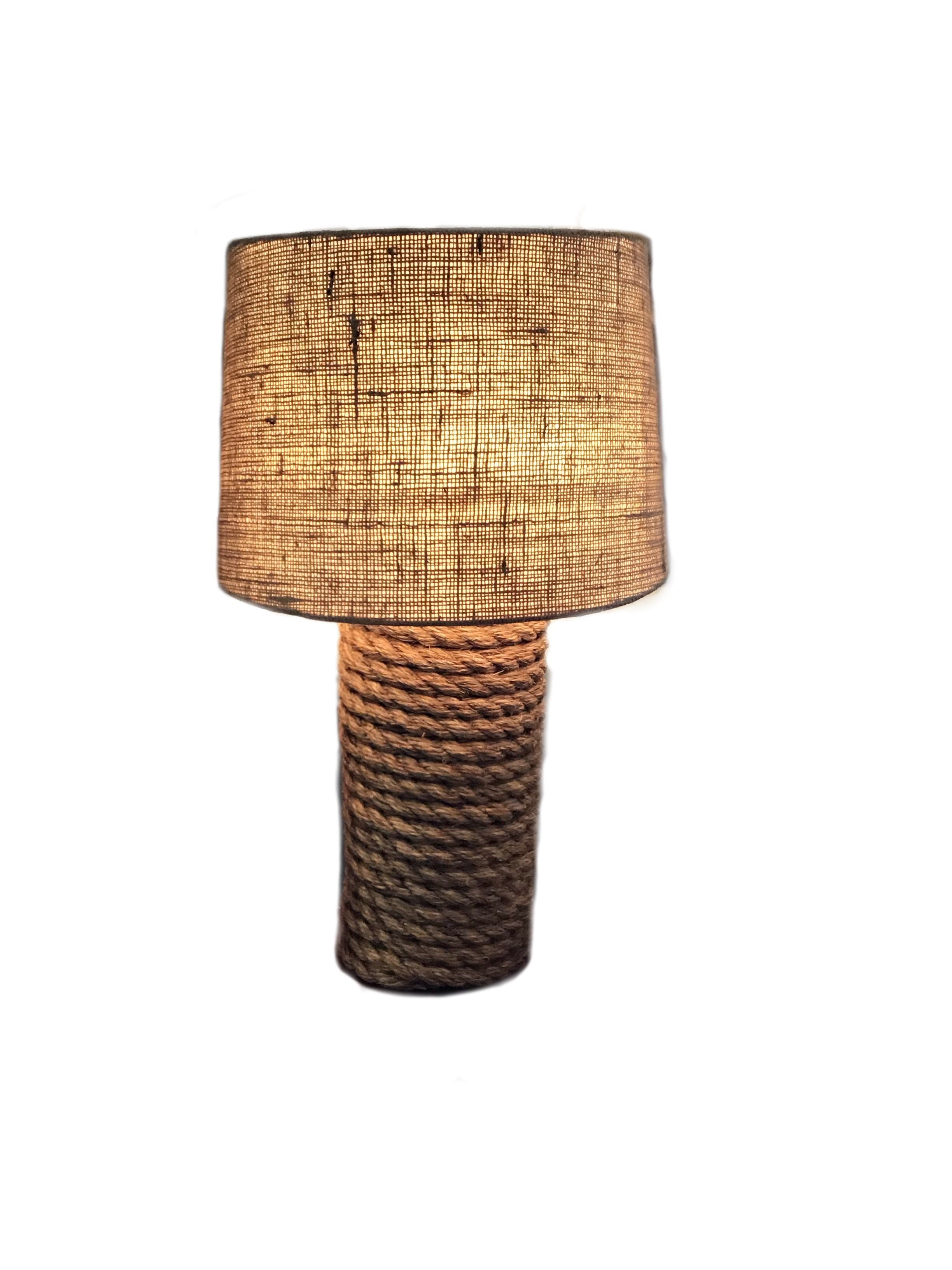 Rope Lamp with Burlap Shade