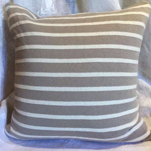 "Beach Stripes Pillow Cover in Stone  20""x20"""