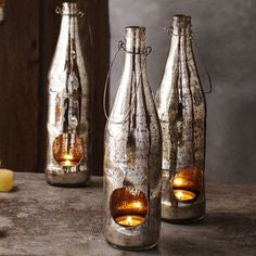 Hanging Mercury Glass Votive Bottle