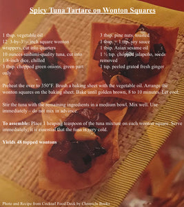 Spicy Tuna Tartare on Wonton Squares Recipe Card
