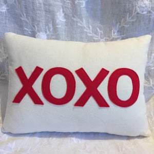 XOXO Red and Ivory Pillow