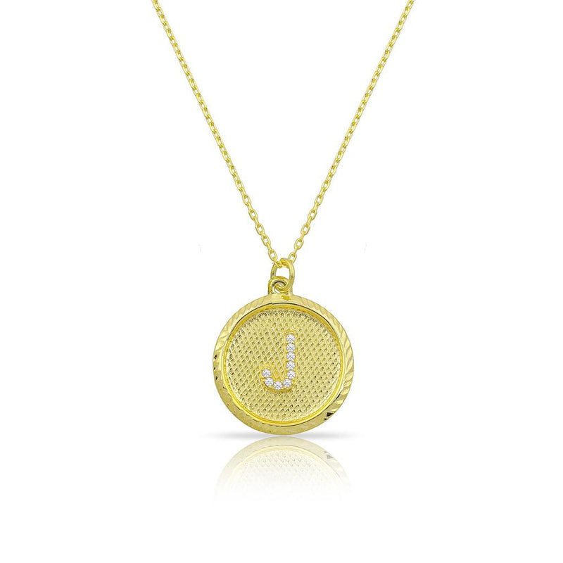 Custom Forever Initial Pendants JEWELRY The Sis Kiss Circle Gold with Crystal Initial