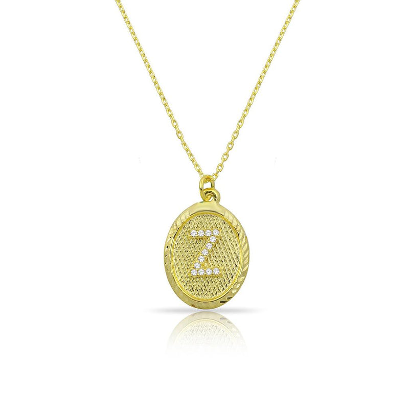 Custom Forever Initial Pendants JEWELRY The Sis Kiss Oval Gold with Crystal Initial