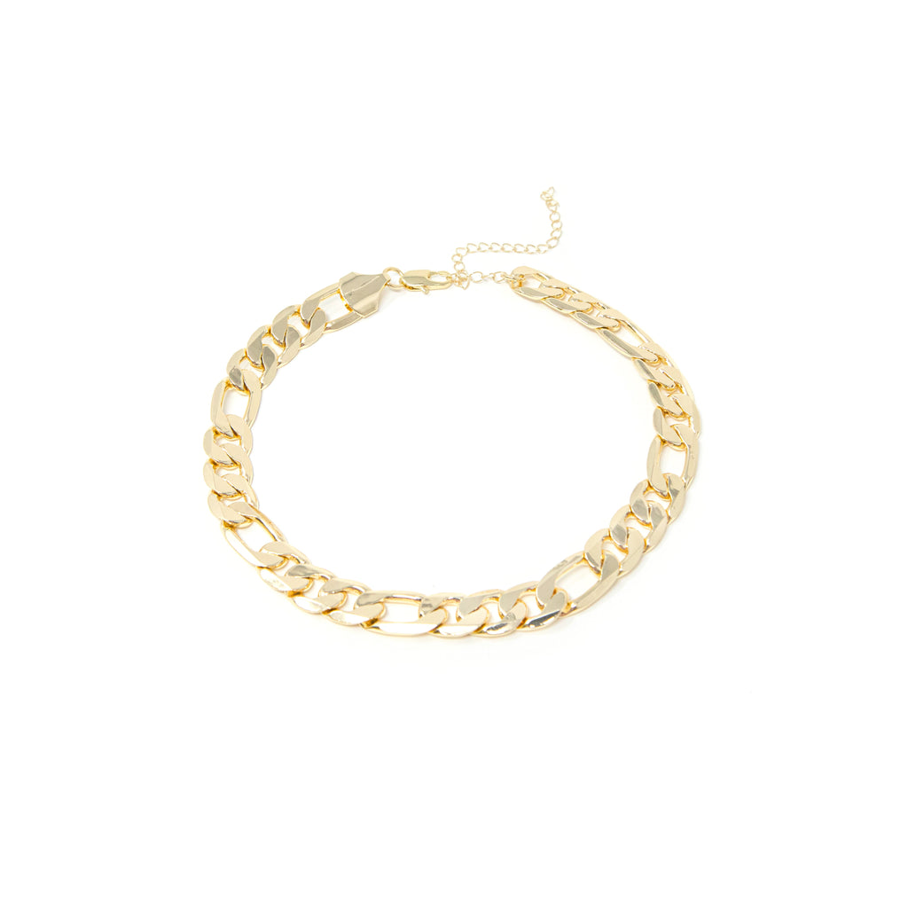 "TSK Gold Chainlink Necklaces necklace The Sis Kiss Curb 13"" Choker Style"