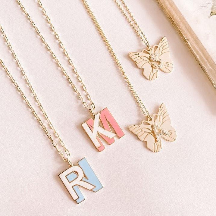 Custom Double Layered Enamel Initial Necklace JEWELRY The Sis Kiss
