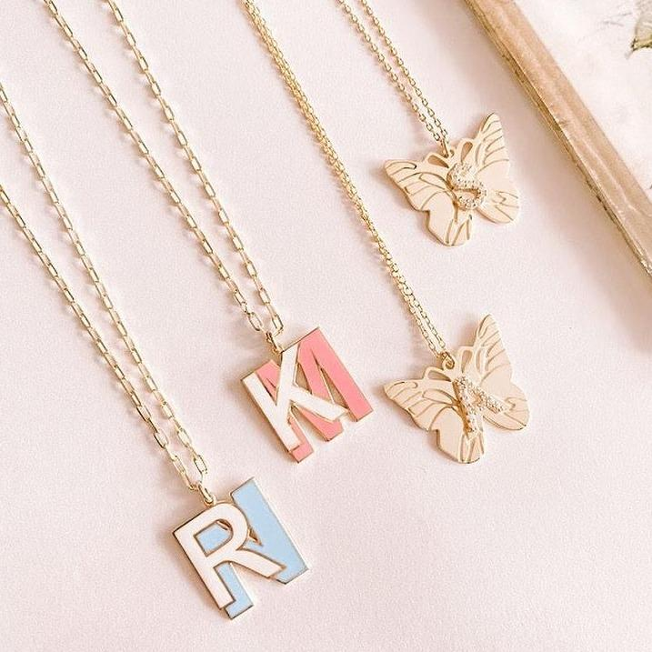 Butterfly Crystal Initial Necklace JEWELRY The Sis Kiss