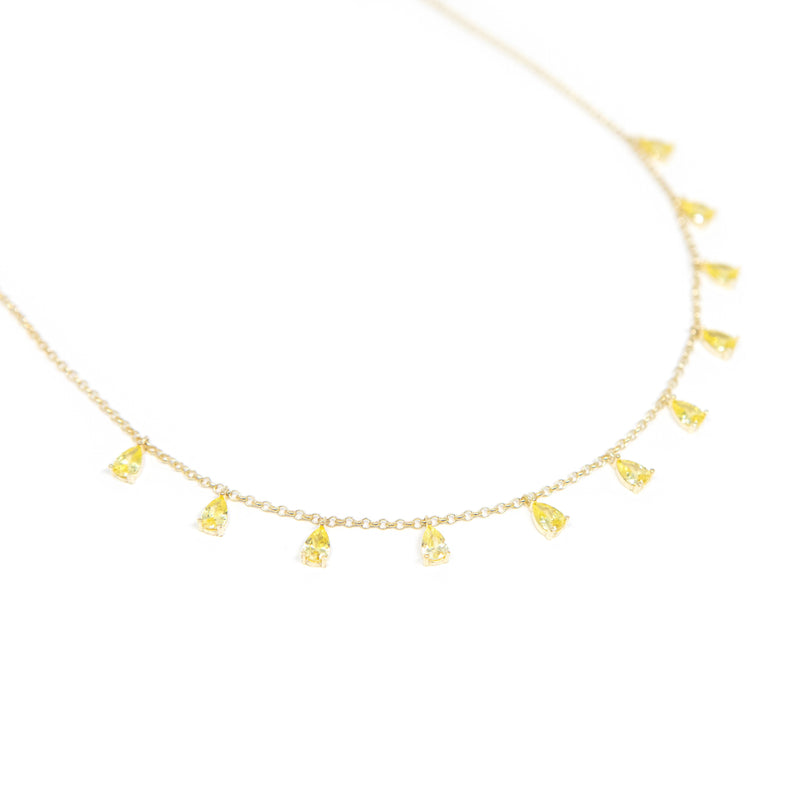 Teardrop Crystal Chokers necklace The Sis Kiss Yellow