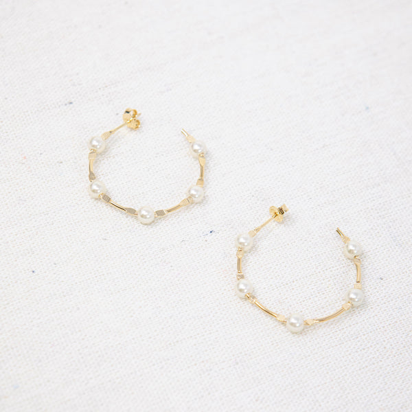Lovely Pearl & Gold Hoops PREORDER