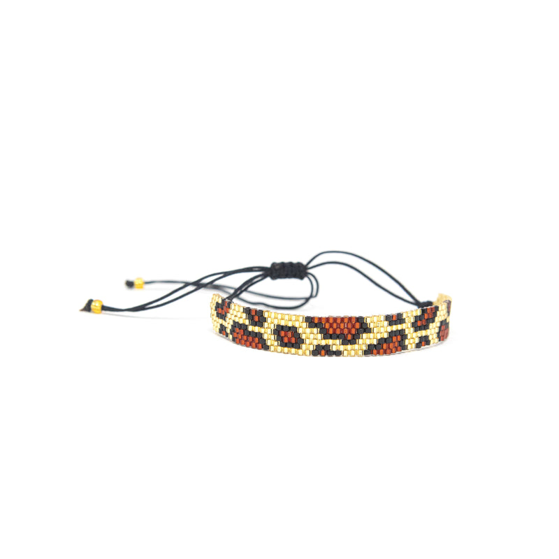 Black and Gold Leopard Beaded Adjustable Bracelet JEWELRY The Sis Kiss